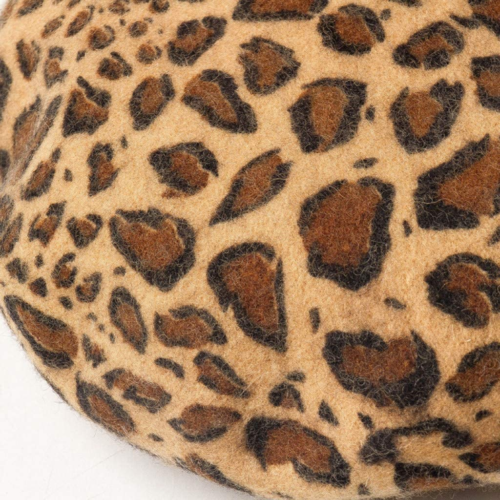 ZZBO Baskenm/ütze Damen Warme Winterm/ütze Zeitungsjunge M/ütze Barett M/ütze Klassische Maler Kappe mit Leoparden Strass Perle Wolle Hut