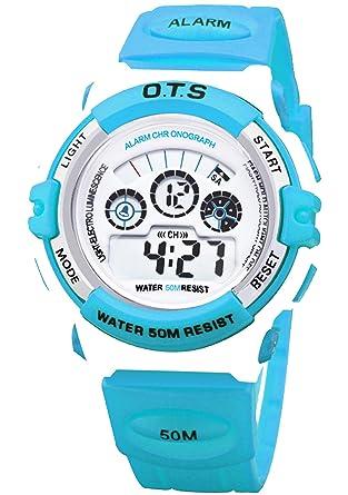 O.T.S - Reloj Digital de Pulsera Deporte 50M Resistente al Agua para Niño Unisex Estudiante Waterproof Wrist Watch - Azul: Amazon.es: Relojes