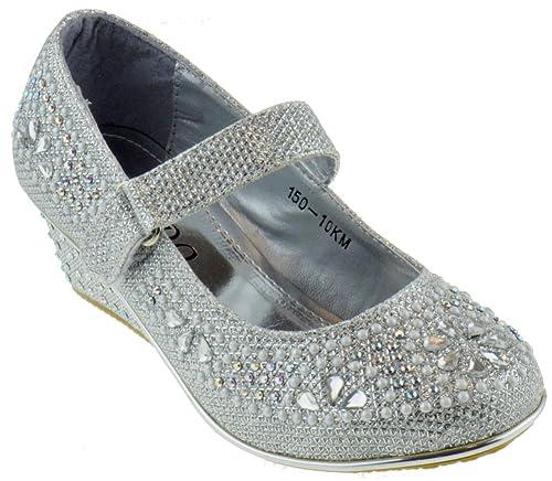 99e7cd08671f 150-10KM Little Girls Rhinestone Wedge Platform Dress Sandals Silver 10
