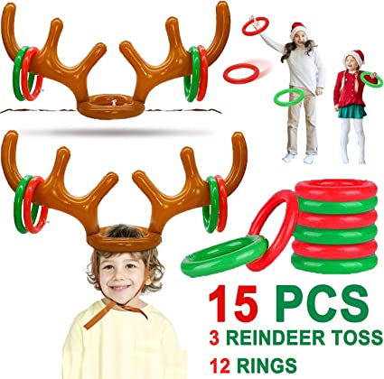 Amazon Com Christmas Party Game For Kids 15 Pcs Christmas Inflatable Reindeer Antler Ring Toss Game Xmas Holiday Carnival Party Favors Dress Up Game Toys For Kids Family Classroom With 3 Reindeer Toss 12