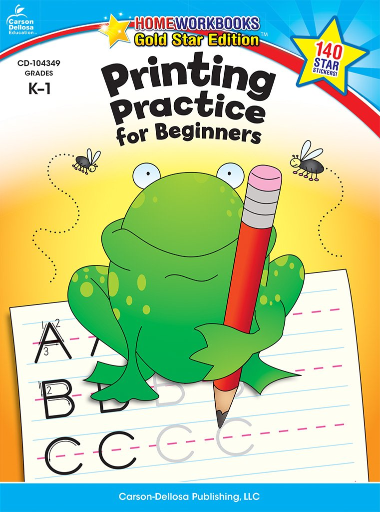 Read Online Printing Practice for Beginners, Grades K - 1: Gold Star Edition (Home Workbooks) pdf