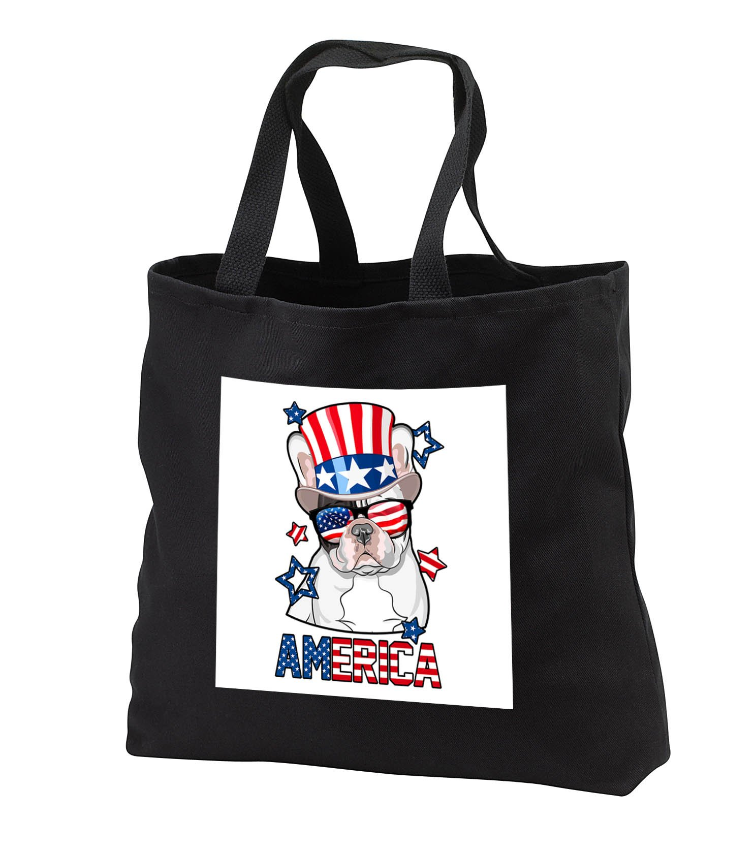 Patriotic American Dogs - French Bulldog With American Flag Sunglasses and Tophat Dog America - Tote Bags - Black Tote Bag 14w x 14h x 3d (tb_284220_1)