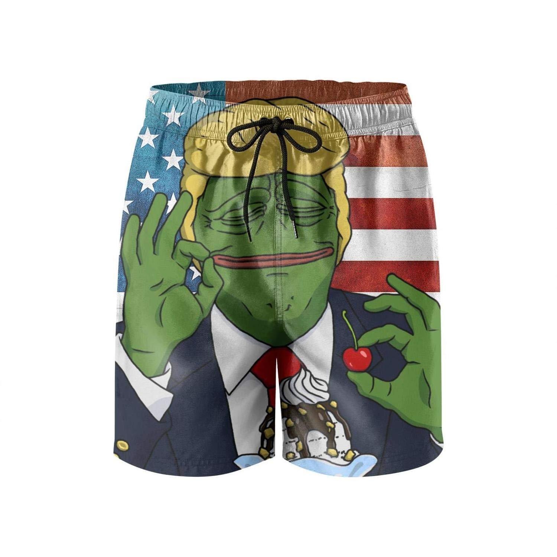 c2a599506c Amazon.com: HSJOTT Donald Trump American Flag Casual Men's Swim Trunk Beach  Shorts: Clothing