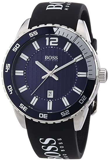 fcbdb8e0c Amazon.com: Hugo Boss Blue Dial SS Rubber Strap Quartz Men's Watch ...