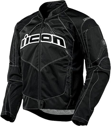 Icon Contra - Chaqueta para motocicleta, color negro: Amazon ...