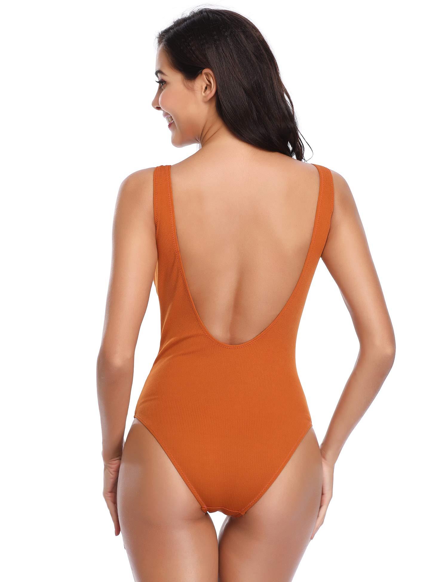 MarianVida Women One Piece Swimsuit Low Cut Back Bathing Suit (Dark-Orange, X-Large)