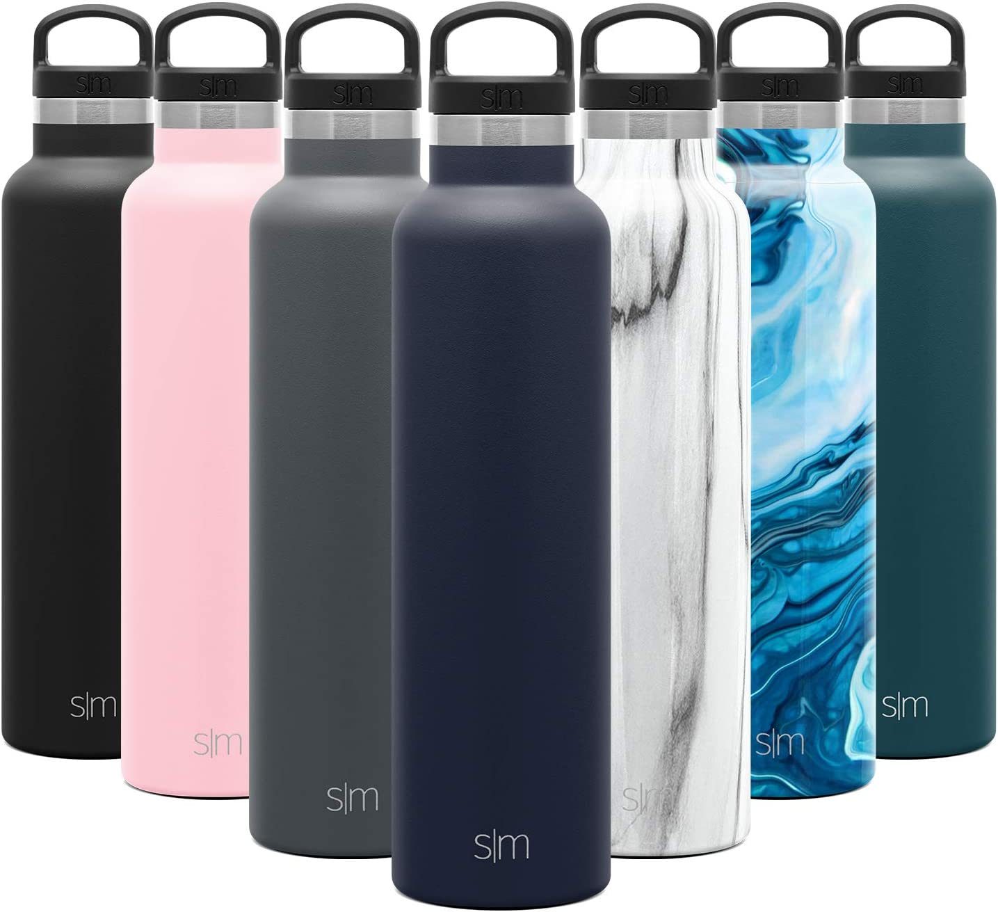 Simple Modern 24oz Ascent Water Bottle - Hydro Vacuum Insulated Tumbler Flask w/Handle Lid - Navy Double Wall Stainless Steel Reusable - Leakproof: -Deep Ocean