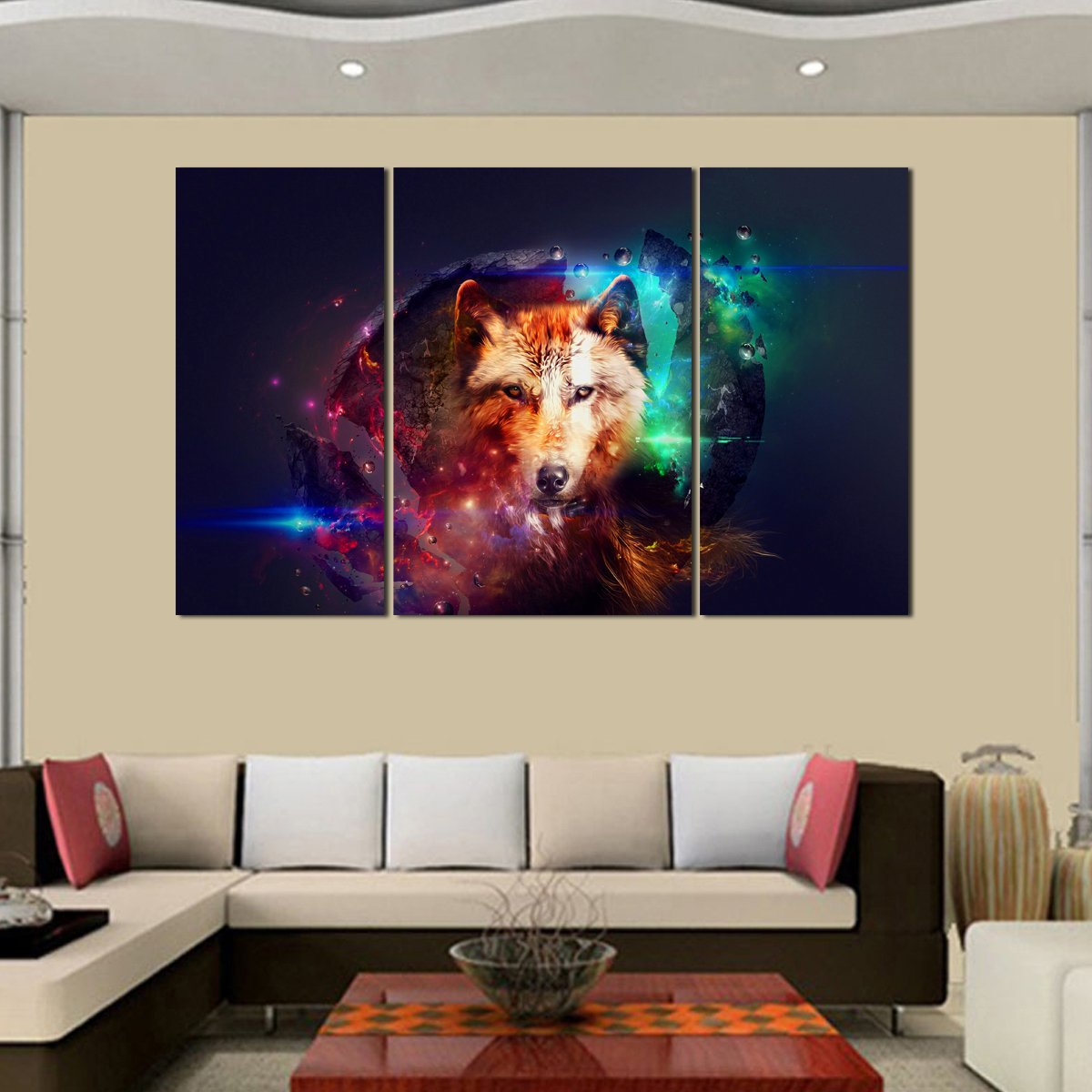 amazon com rain queen canvas print abstract colorful wolf oil amazon com rain queen canvas print abstract colorful wolf oil paintings for home decor no wood frame posters prints