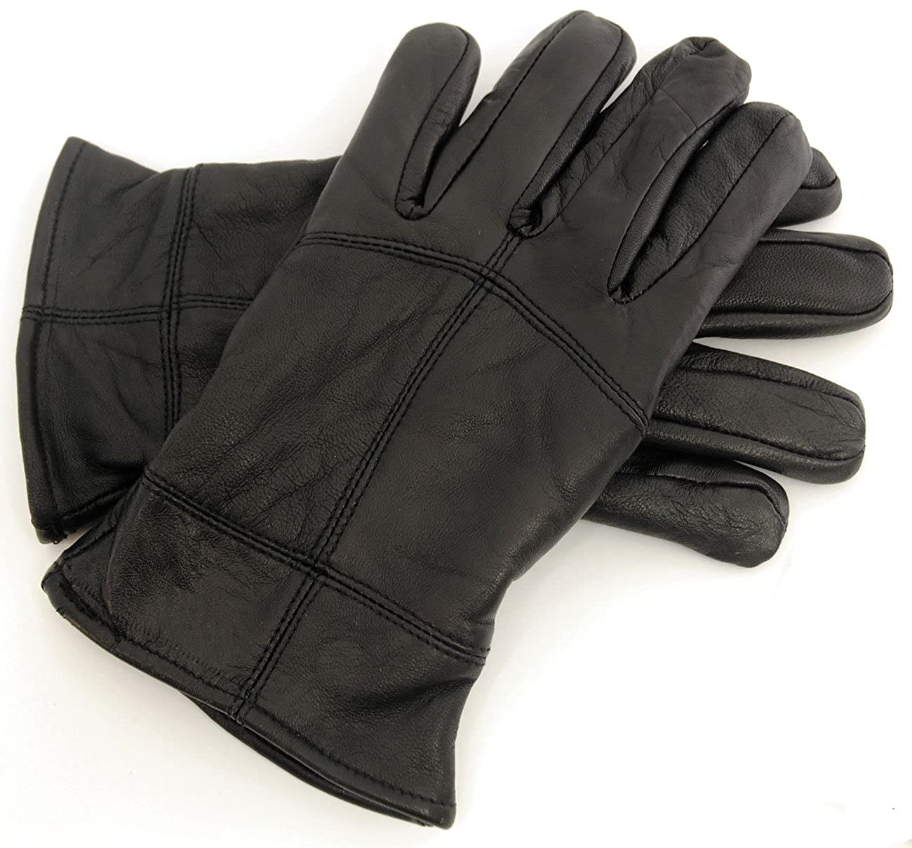 Mens Black Sheepskin Leather Gloves Thinsulate Lining Winter Wet Outdoor Driving RJM