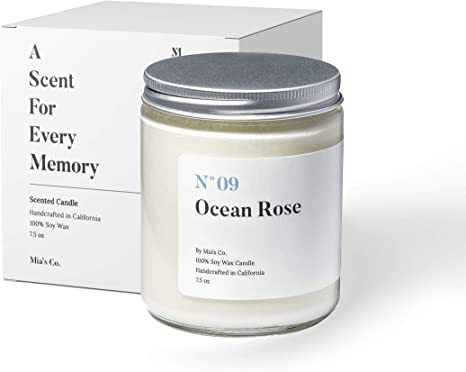 Mia's Co Ocean Rose Scented Candle, Handmade with Natural Soy Wax and Cotton Wicks, 7.5 oz Minimalist Candle for Home, Long Lasting Burning for Stress Relief, Candle Gift for Women