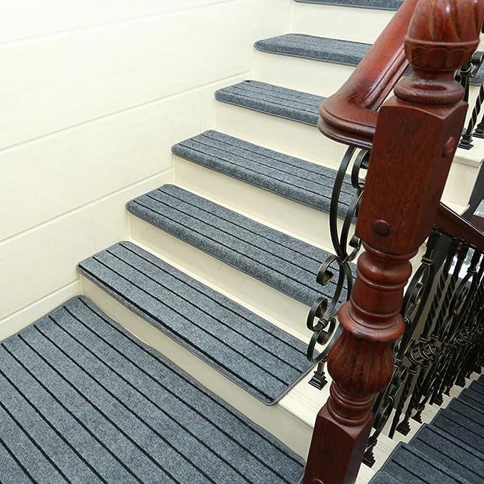 eshangmaoyouxiaX - Alfombra Antideslizante de Madera Maciza para escaleras, Protectores de escaleras, Dispositivo Lavable, Gris, 65cm*24cm*3cm: Amazon.es: Hogar