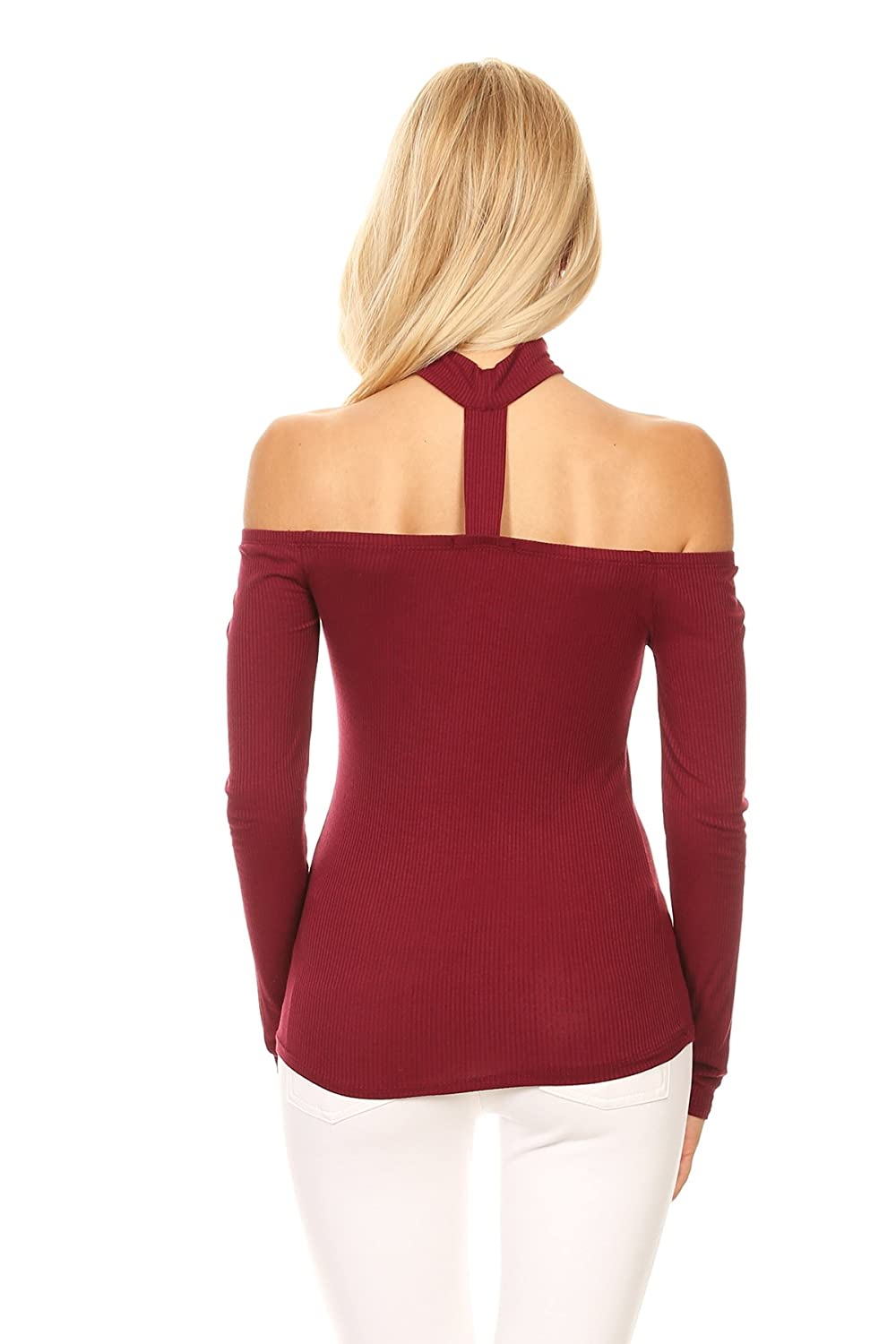 5a6ca7891d491 Ambiance Women s Off Shoulder Stretchy Long Sleeve Top at Amazon Women s  Clothing store