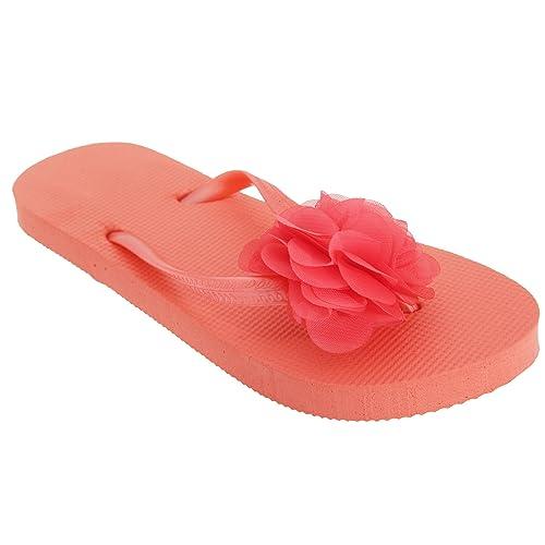 fe55c66cb87a Floso® Womens Ladies Plain Toe Post Flip Flops with 3D Flower Detail ...