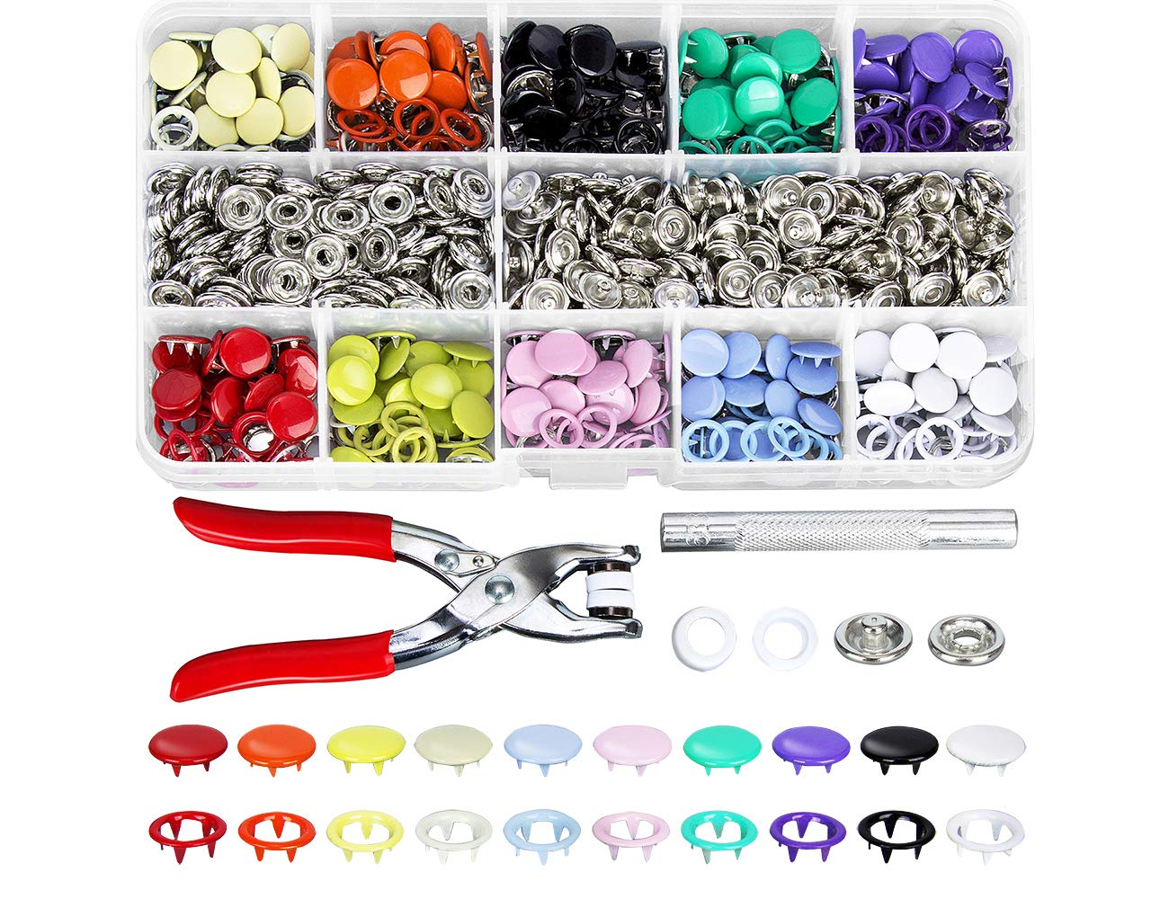 for DIY Baby Clothing and Thin Clothing Snap Fastener Grommets Kit SROL 200 Sets Grommets Kit Snap Fastener Tool,9.5mm 10 Colors Metal Prong Ring Button