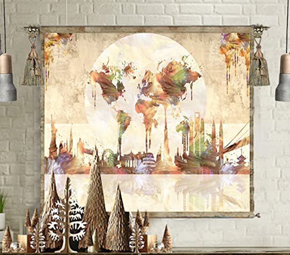 Amazon world map tapestry wall hanging large canvas wall art world map tapestry wall hanging large canvas wall art print poster painting home decor gumiabroncs Gallery
