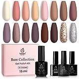 Beetles Bare Collection Gel Nail Polish Kit-19 Pcs 15ml Pastel Pink Nude Gel Polish Set Brown Glitter Gel Nail Kit Peach…