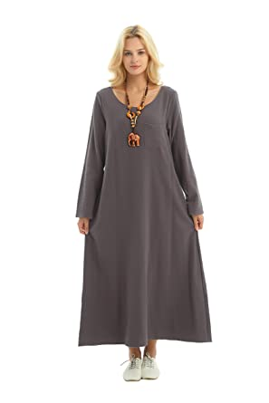 2d27178a20f Anysize Long-Sleeved Linen Cotton Spring Summer Dress Plus Size Clothing  F148A Gray