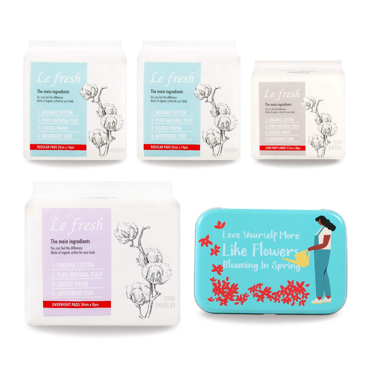 Lefresh Gift Package B - Organic Cotton Sanitary Pads for Women - Lefresh Panty Liners, 2 Packs of Regular, Overnight Menstrual Pads with Wings + Free Pocket Carrying tin