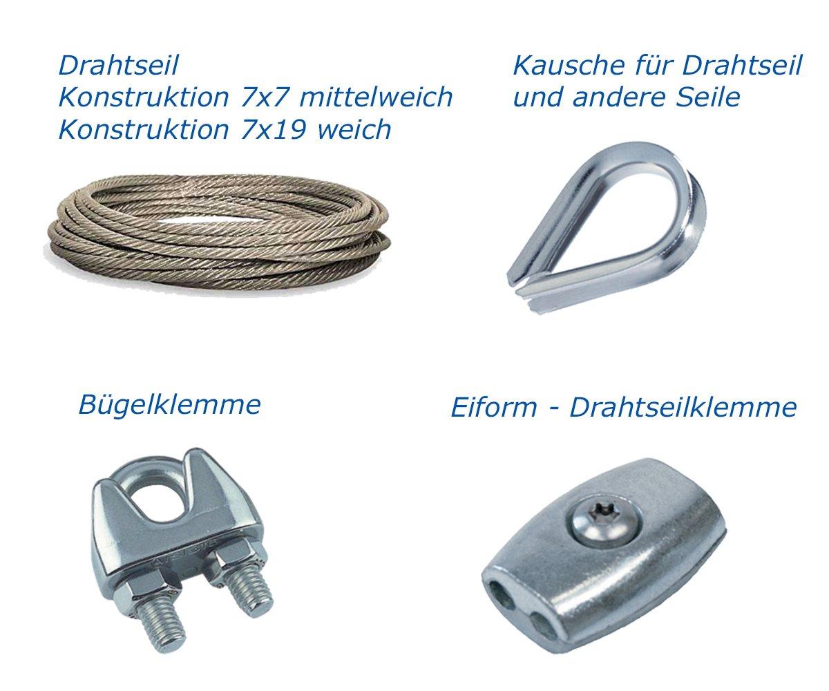 Drahtseil 7x7 o. 7x19 - Kausche - Drahtseilügelklemme - Eiform ...