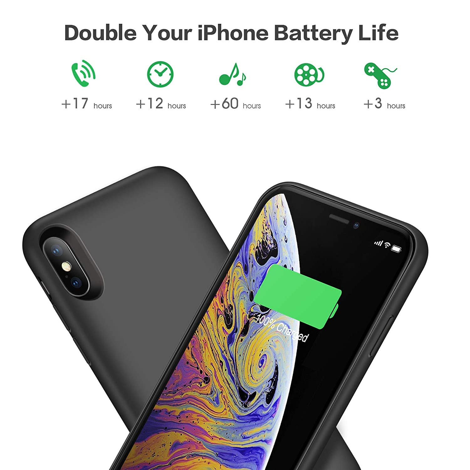 Battery Case for iPhone X/Xs/10 6500mAh, iPosible Portable Charging Case  Rechargeable Extended Battery Pack for iPhone X/Xs(5 8 inch) Protective