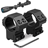 Modkin 1'' Dovetail Scope Rings, Medium Profile Scope Mounts for 11mm Dovetail Rails - 2 Pieces (One has Stop pin)