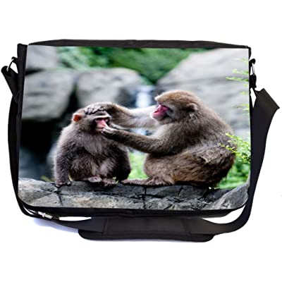 Rikki Knight Snow Monkeys Mother Grooming Baby Design Multifunctional Messenger Bag - School Bag - Laptop Bag - with padded insert for School or Work - Includes Matching Compact Mirror