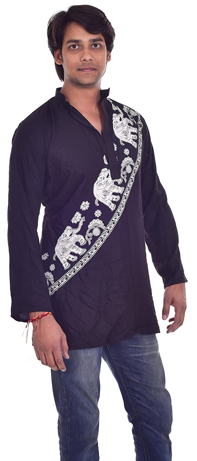 Indian 100/% Cotton Mens Kurta Shirt Tunic Black Color Loose Fit Plus Size Animal Print