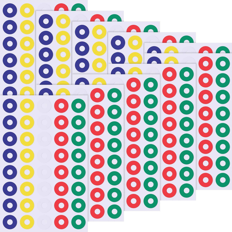 400 Pezzi Autoadesiva Etichette di Rinforzo per Riparazione di Fori e Rafforzare Buchi, Rotondo, Multicolore Chengu