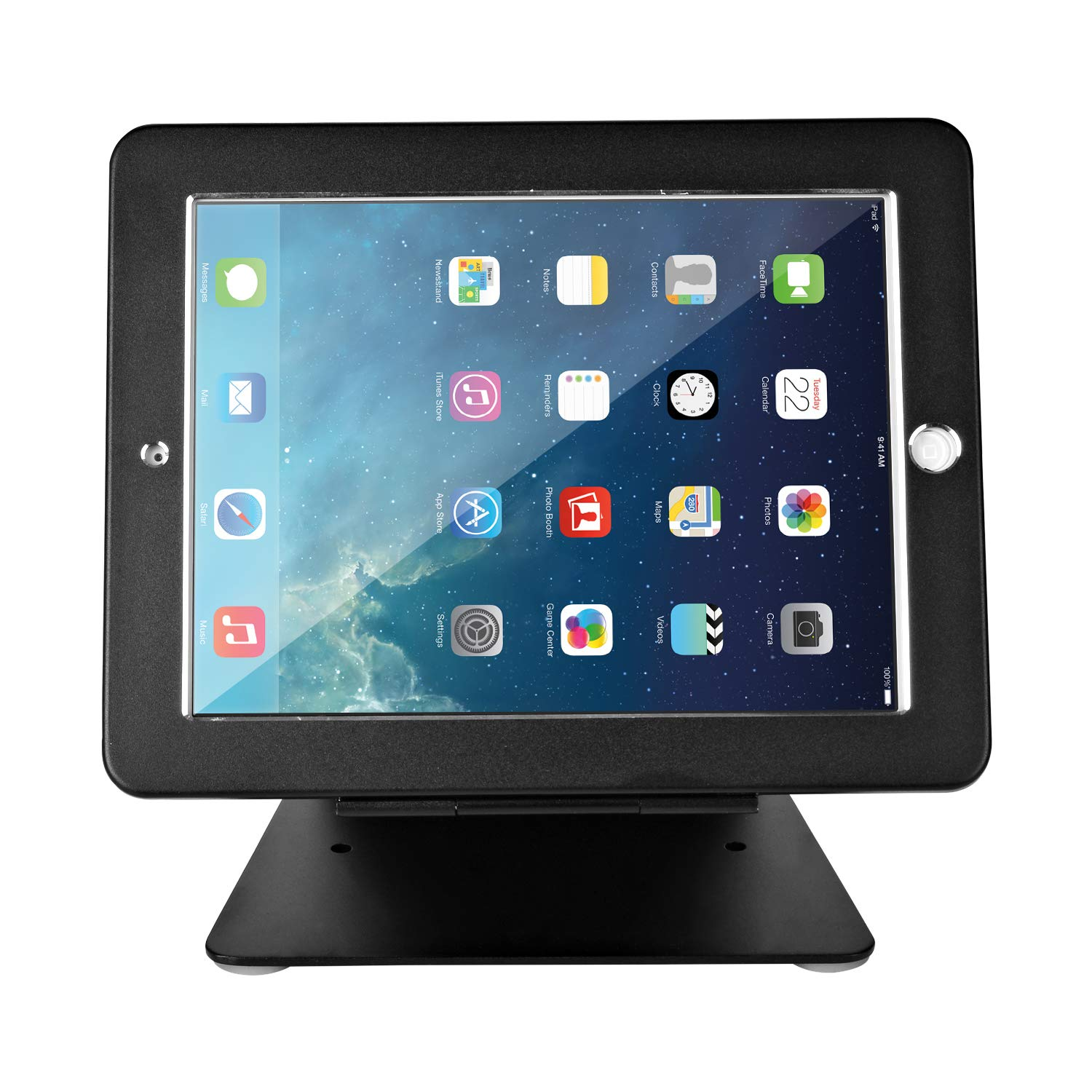 Firstand iPad Stand Holder, iPad Desktop Anti-Theft Security POS Stand Holder Enclosure with Lock and Key Compatible for iPad 2,3,4 and iPad air/air 2, iPad Pro 9.7'', 360 Degree Rotating (Black)