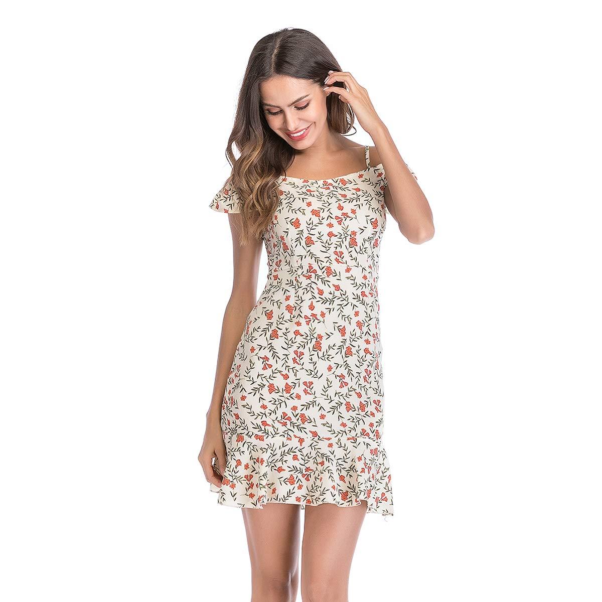 916eb3c97494c4 Woman s Off Shoulder Chiffon Ruffled Hem Floral Mini Beach Sexy Wrap Dress  at Amazon Women s Clothing store