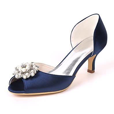 09253378d2c5 SHOELIN Women s Mid Heels Peep Toe Glitter Pearls Satin Slip on Wedding  Shoes Sandals Blue