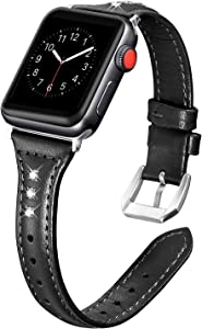 Secbolt Leather Bands Compatible Apple Watch Band 38mm 40mm Iwatch Series 6 5 4 3 2 1 SE Slim Replacement Wristband Strap Stainless Steel Buckle, Black with Rhinestone