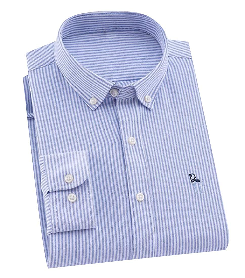 YUNY Mens Oversized Vertical Stripes Embroidered Oxford Shirt 2 4XL