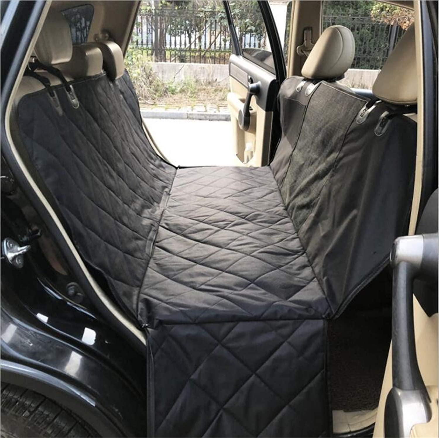 Dog Seat Covers,with Mesh Pocket and Two Storage Pockets,Visible Window,Hammock Back Seat Travel Cover,Universal Fits All Cars (Black)
