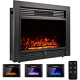 """YODOLLA 28.5"""" Electric Fireplace Insert with 3 Color Flames, Fireplace Heater with Remote Control and Timer, 750w-1500W,Classic Style"""