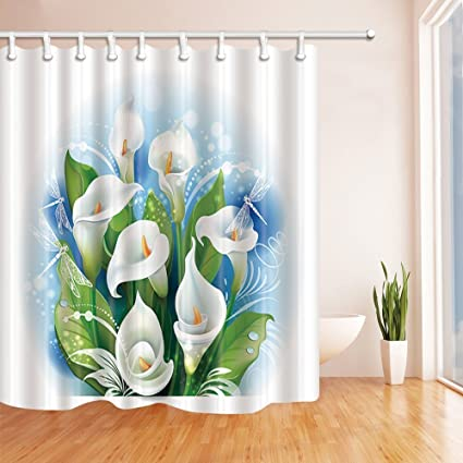 Rrfwq Vector Flowers Decor Bouquet Of White Calla Lilies For Love Mildew Resistant Polyester Fabric Shower