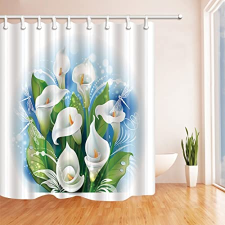 GoHEBE Vector Flowers Decor Bouquet Of White Calla Lilies For Love Mildew Resistant Polyester Fabric Shower