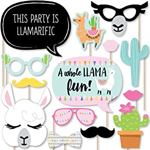 Big Dot of Happiness Whole Llama Fun - Llama Fiesta Baby Shower or Birthday Party Photo Booth Props Kit - 20 Count