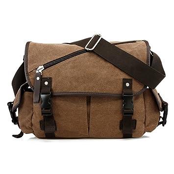 Amazon.com  Oct17 Men Messenger Bag School Shoulder Canvas Vintage  Crossbody Military Satchel Bag Laptop Coffee  GEARONIC INC. a0b4386a6b467
