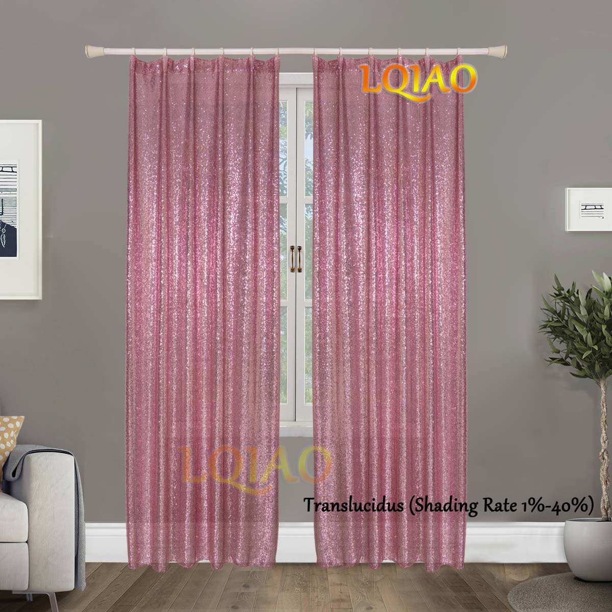 LQIAO Luxurious Metalic Pink Gold Sequin Curtains 50x63in Sparkly Pink Gold Fabric Window Curtain Panel,little see through, 50x63 inches,More Colors Options Hooks Possible
