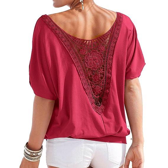 Juleya Blusa Mujer Oversize Encaje Camisa Mujer Camiseta Manga Corta O Cuello Tops Elegante Camisetas de