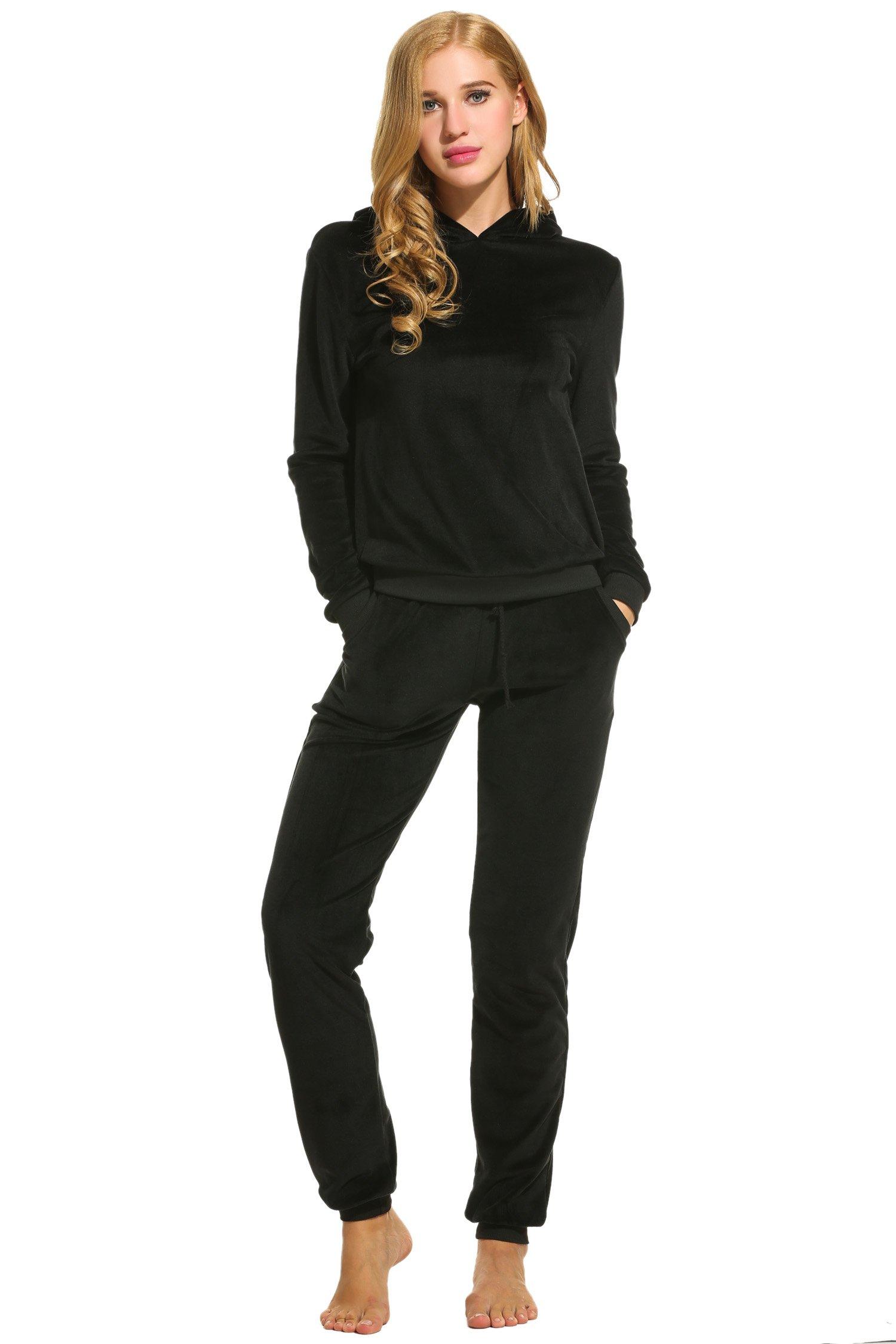 Hotouch Women's Soft Velour Tracksuit Hoodie & Sweat Pants Set Black XXXL
