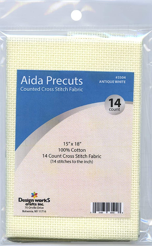 Design Works Gold Quality Aida 14 Count 15X18-Antique White
