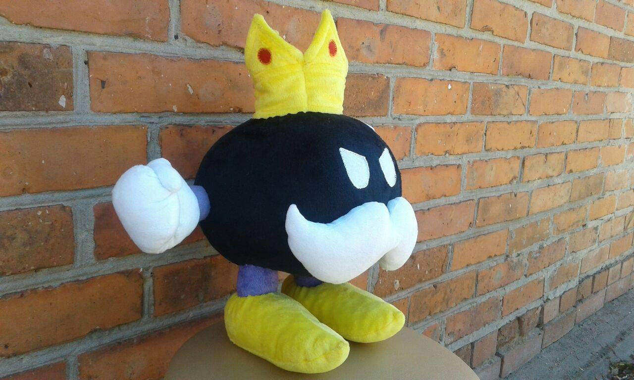 Custom plush inspired by King Bob-omb Super Mario party plush minky 30 cm made to order