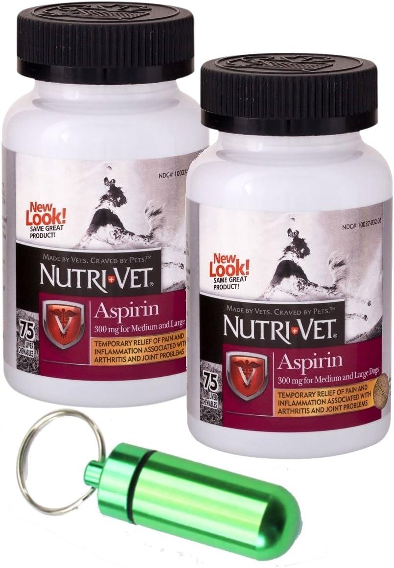 Nutri-Vet 300mg Aspirin for Medium Large Dogs, 75ct w Collar Address Carrier