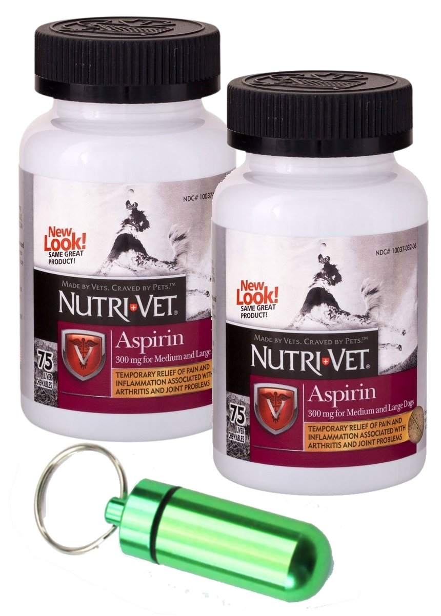 Green Twin Pack Green Twin Pack Nutri-Vet 300mg Aspirin for Medium & Large Dogs, 75ct w Collar Meds Carrier (Twin Pack, Green)