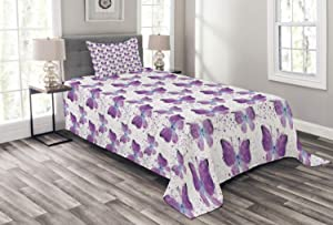 Ambesonne Butterfly Bedspread, Surreal Star Patterned Background with Polygonal Butterflies Modern, Decorative Quilted 2 Piece Coverlet Set with Pillow Sham, Twin Size, Pale Blue