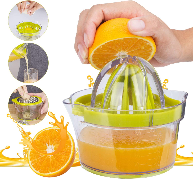 Citrus Lemon Orange Juicer Manual, Hand Juicer Orange Squeezer, Lime Fruit Juicer with Container 400ml, Dishwasher Safe, Plastic, BPA-Free, Ø 12.5 cm, Anti-drip Filter Mechanism