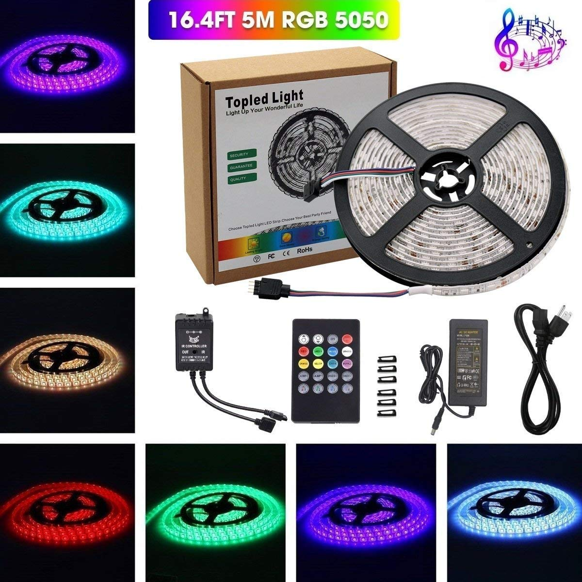 Music Led Strip Lighttopled Light Ir Sound Lighting Wiring System Lights Activated 5m 5050 Rgb Waterproof 300leds Flexible Color Changing Kit With