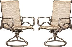 Patio Swivel Dining Chairs Outdoor Metal Bistro Chairs Garden Backyard Furniture Rocker Chairs, Set of 2